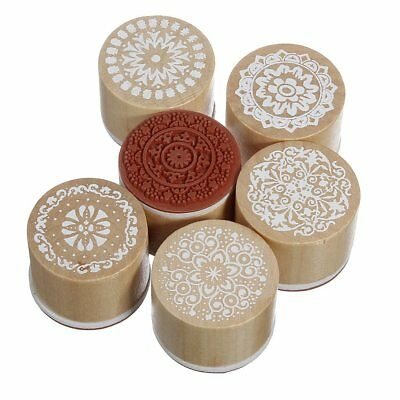 6 Assorted Wooden Rubber Stamp Round Handwriting Floral Flower Craft X1P3