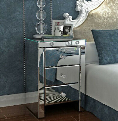 Mirrored Furniture Glass 3 Drawer Bedside Cabinet Table Bedroom Stand Furniture