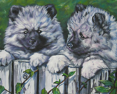 "KEESHOND dog portrait art Canvas PRINT of lashepard painting  LSHEP 8x10"" puppy"