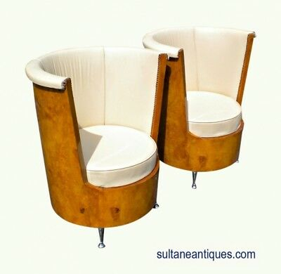Best Art Deco Style Large Pair golden Maple Armchairs