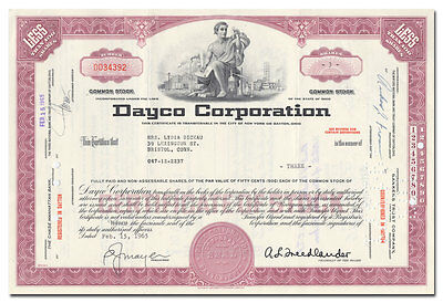 Dayco Corporation Stock Certificate (Dayton Rubber Company)