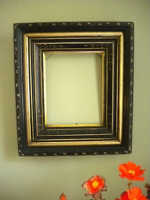 PAIR of Eastlake Victorian Black Ebonized Frames Chip Carved 17x15