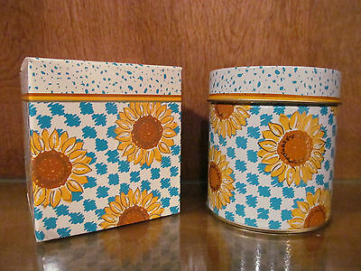 Vintage Avon Skin So Soft Candle In Sunflower Tin Nib