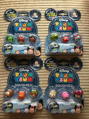 Disney Tsum Tsum Squishies Series 5 Glow In The Dark 4 PACK Choose Your Own NEW