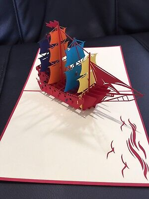 Large Sailing Ship All occasion card handmade 3d pop up & origami