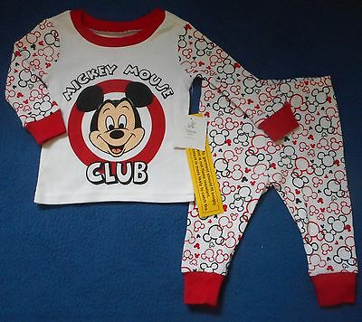 NWT New Disney Store Mickey Mouse Pajamas Size 9-12 Months 2 Piece 100% Cotton