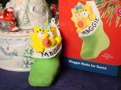 Carlton THE SIMPSONS MAGGIE WAITS For SANTA in Stocking CHRISTMAS ORNAMENT wbx