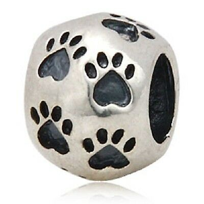 DOG CAT PAW PRINT HEART 925 sterling silver charm bead fits european bracelet
