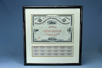 Antique 1871 TEXAS INTERNATIONAL RAILROAD $1000 GOLD BOND + COUPONS FRAMED 03346
