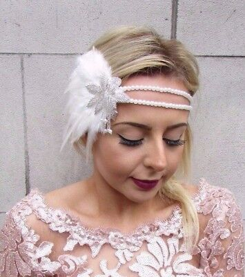 Ivory Cream Pearl Feather Headpiece 1920s Headband Flapper Great Gatbsy Vtg 4602