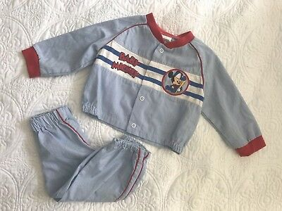 Vintage Mickey Mouse Baseball Baby Outfit Newborn To 6 Months Snap top and Pants