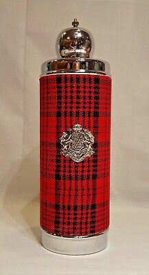 Vintage Decanter with Red Plaid Fabric and Music Box on Bottom