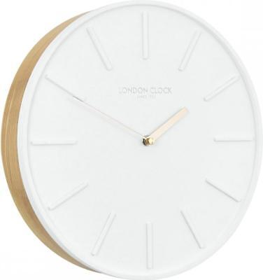 London Clock Company Lagom White Resin Dial & Oak Wooden Back Wall Clock