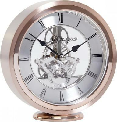 London Clock Company Rose Skeleton Round Quartz Mantel Clock