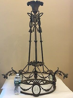 Antique Bronze French Empire Directoire Basket Chandelier