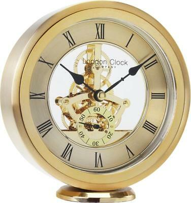 London Clock Company Round Skeleton Gold Mantel Clock