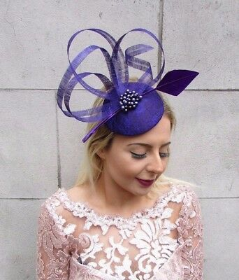 Dark Purple Feather Fascinator Hat Hair Clip Pillbox Races Formal Cocktail 4606