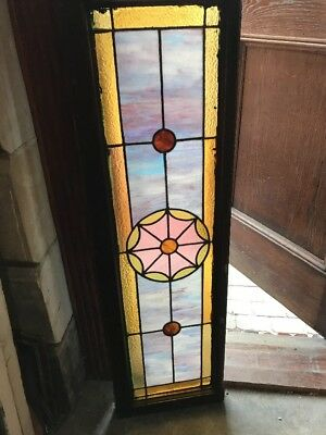 SG 1674 antique Stainglass transom window 15.25 x 52.25
