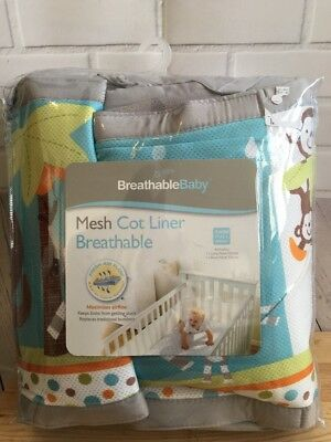 Breathable Mesh Cot Bumper- Animal Design Baby Boys Girls- Great Condition