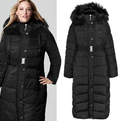 New Womens Ladies Plus Size Long Quilted Padded Winter Jacket Coat Fur Trim Hood