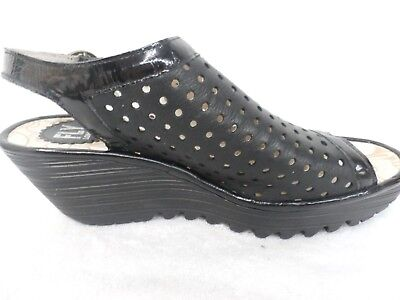 FLY London Perforated Peep-toe Wedge Sandals - Yile Perf BLACK 37=6.5-7