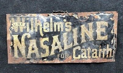 """Use Wilhelm's Nasaline for Catarrh"" Mica Flakes painted metal sign Denver CO"