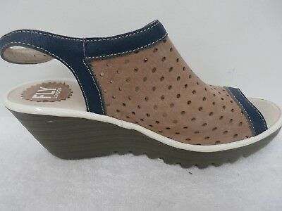 FLY London Perforated Peep-toe Wedge Sandals - Yile Perf BEIGE 39=8-8.5