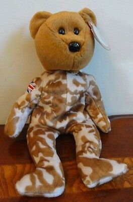 TY BEANIE BABIES BABY HERO the BEAR MILITARY CAMOUFLAGE UK UNION JACK  MWMT 8.5""