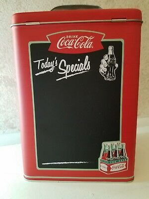 Coca Cola chalk board Tin Container with Hinged Lid NEW   Advertising Coke