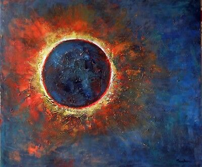 Solar Eclipse Abstract Painting Original art Sun Moon 36x30 Art by BenWill
