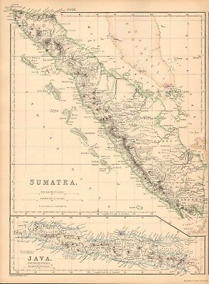 1859 Antique Map - Weller - Sumatra And Java