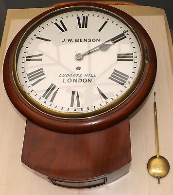 "Antique 12"" Dial Chain Fusee Drop Dial Wall Clock J W Benson Ludgate Hill London"