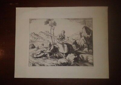 """The Flight into Egypt"" Engraving Pencil Signed by Carl Max Schultheiss"