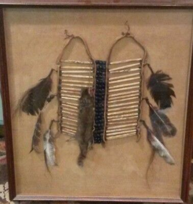 Vintage Hand Crafted NATIVE AMERICAN BREASTPLATEFramed & Mounted on BUCK SKIN