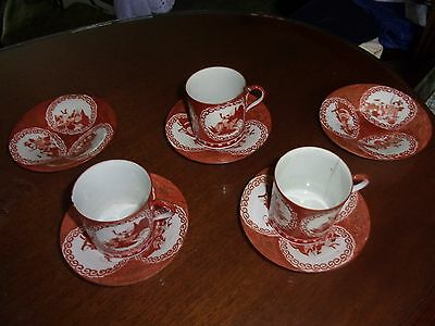 3 Teacups & Saucers +2 extra Saucers HandPainted Early Japanese EDO PERIOD FINE