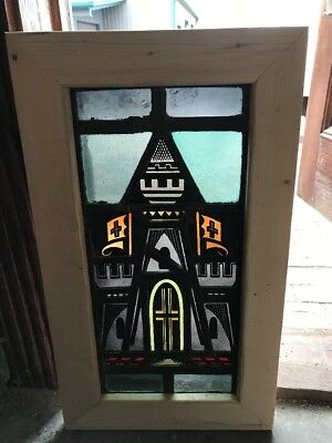 Sg 1678 Antique Painted And Fired Stainglass Window House Of Holy 15.25X 26.5