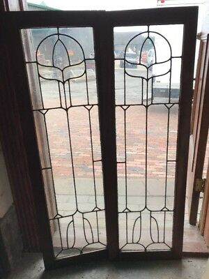 SG 1679 matched pair antique oak leaded glass bookcase doors 32 x 49 3/8