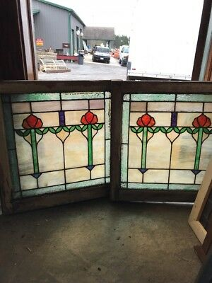 Sg 1680 Match Pair Antique Stainglass Fireside Windows 23.75 X 25 Hi