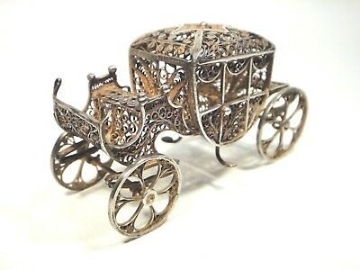 Antique Silver Cannetille Filigree Carriage Miniature Doll House Stagecoach