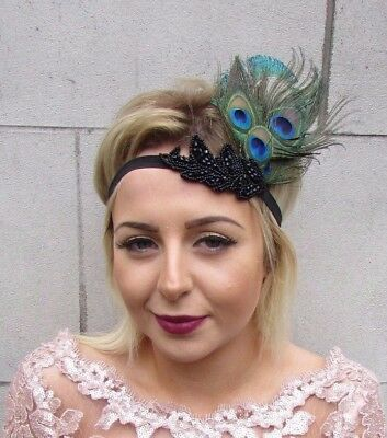 Black Green Peacock Feather Headpiece 1920s Headband Flapper Fascinator 4625
