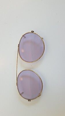 Vintage Clip-On Sunglasses with Case ~ Pink tinge
