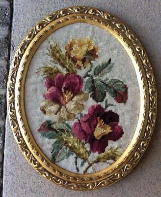 Vintage Wood Gold Gesso Oval Frame With Needelpoint Floral Print