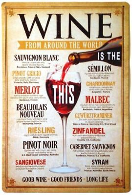 Women's Wine From Around the World Tin Sign Home Decor Kitchen Wine Lovers NEW