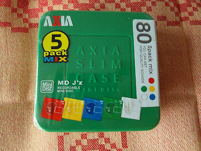 MD AXIA 5er BOX MD-J'z 80 COLOR Minidisc Japanimport