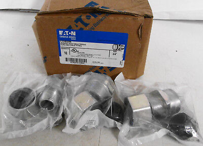 """(3) Eaton Crouse Hinds CGB296 Straight Body Male Cord and Cable Fitting 3/4"""""""