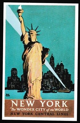 New York Central poster postcard railroad train Statue of Liberty ferry railway
