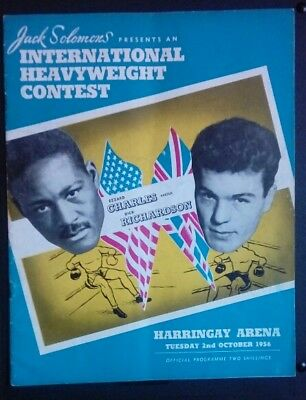 Ezzard Charles on site programme - 1950s boxing memorabilia