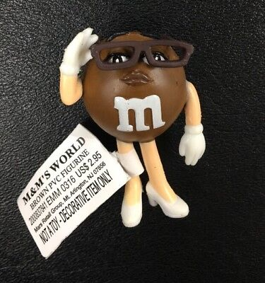 "Box Of 50 (fifty) M&M's World Brown PVC Figurine 2-1/4"" Tall"