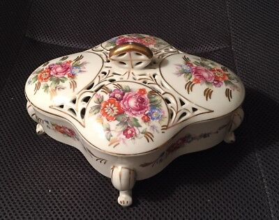 Thames Hand Painted Flowers Porcelain Covered Trinket Jewelry Box with Gold Trim