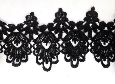 1 Yard Black /Off  White Venice Lace Venise Trim 4 3/4 inch Wide SHIPS FROM USA